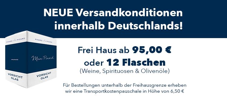 Neue Versandkonditionen innerhalb Deutschlands. Frei Haus ab 95 Euro