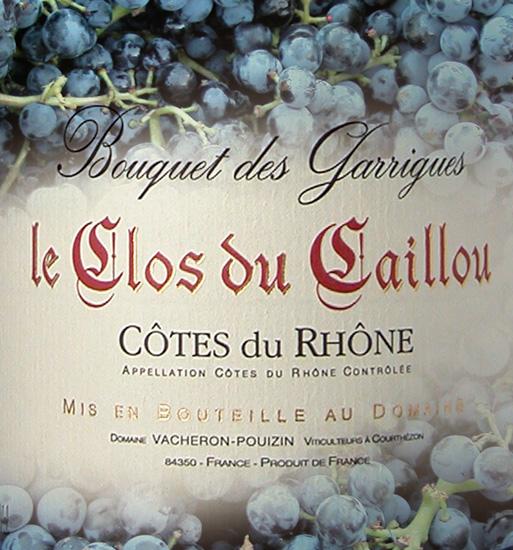 """Clos du Caillou, """"Bouquet des Garrigues"""", CdR rouge"""